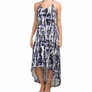 NICOLE MILLER blue white tie dye hi low maxi dress